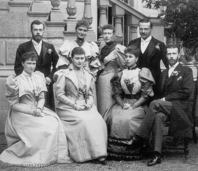 The grand ducal family of Hesse at the end of the XIX century. Guests of Princess Victoria Melita of Saxe-Coburg and Gotha and Ernest Louis, Grand Duke of Hesse and by Rhine at Darmstadt. Top Row: Tsarevich Nikolay Alexandrovich Romanov, Princess Alix of Hesse, Princess Victoria and their brother Grand Duke Ernest Louis. Bottom Row: Princess Irene of Prussia, Grand Duchess Elizaveta of Russia, Princess Victoria Melita and Grand Duke Sergei Alexandrovich of Russia, husband of  Princess Elisabeth of Hesse and by Rhine, later Grand Duchess Elizabeth Feodorovna of Russia.